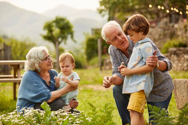 Couple de grands-parents qui jouent de le jardin avec leurs petits-enfants